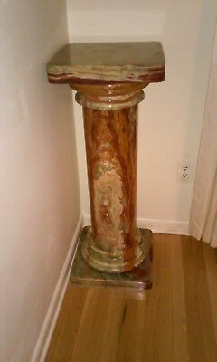"5 PIECES: SQUARE TOP, BASE AND GREEK STYLE COLUMN ONYX PEDESTAL 36""H EARLY 20c"