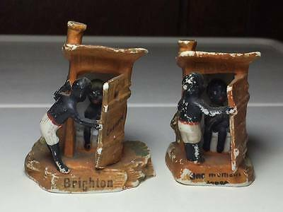 Vintage German ceramic african american outhouse figurines