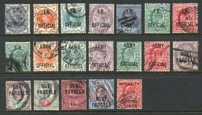 GB Official stamps Used. IR, Govt parcels, Admiralty, OW, Army. Cat approx £600