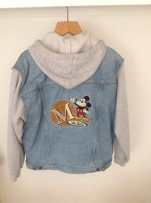 Vintage Mickey Mouse Hooded Jacket Fleecy Denim Size L Mickey Mouse Buttons