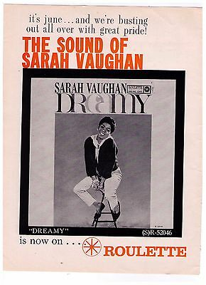 "1960 Sarah Vaughan ""Dreamy"" Roulette Records Vintage Print Advertisement"