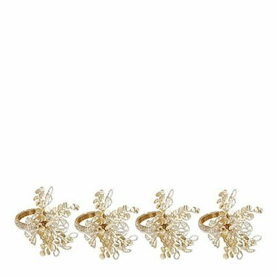 Home Collection Set Of Four Gold Beaded Napkin Rings