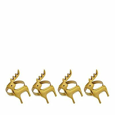 Home Collection Set Of Four Gold Reindeer Napkin Rings