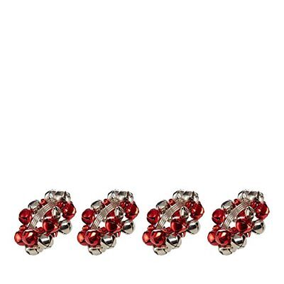 Home Collection Set Of Four Red Bell Napkin Rings