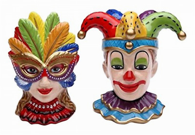 "4"" Ceramic Clown & Female Mask Set with Colorful Feathers Ceramic Figurines"