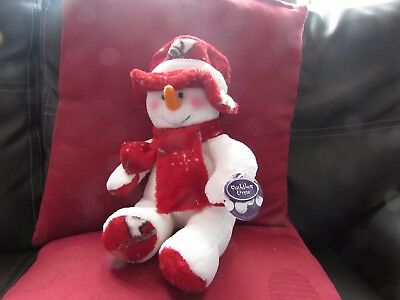 Soft Plush Christmas Snowman Toy With Red Hat & Scarf By Cuddles Time