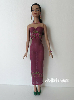 """SEXY lace DRESS AND JEWELRY SET for Tonner 16"""" Tyler Sydney etc Fashion NO DOLL"""