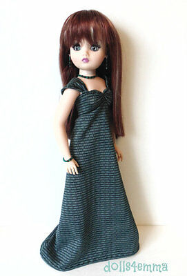 """OOAK CISSY DOLL CLOTHES teal Gown & Jewelry set 21"""" handmade Fashion NO DOLL d4e"""