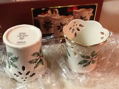 Lenox Holiday Pierced Votives  Set /3 *NIB*
