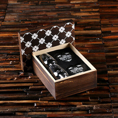 Twin Stemless Personalised Wine Glasses w/ 2 Heart-Shaped Slate Coasters in Box