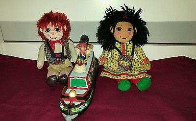 """Rosie and Jim 10"""" Dolls and Canal Boat with Figures"""