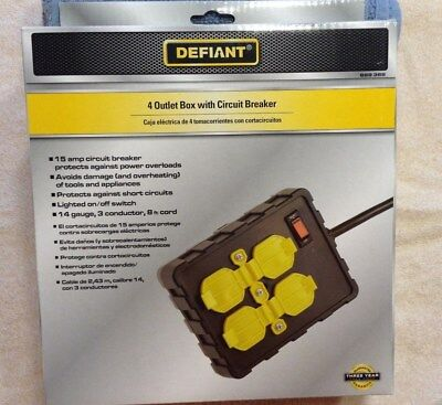 New - Defiant 4 Outlet Box with Circuit Breaker - New in pkg- Free Shipping!