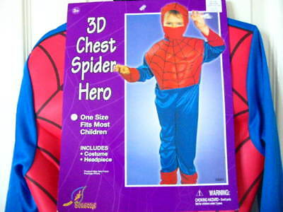 NEW Boys 3D Chest Spider Hero Halloween Costume One Size Fits Most