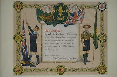 Boy Scout Be Prepared Promptitude Certificate Signed Robert Baden-Powell c.1921