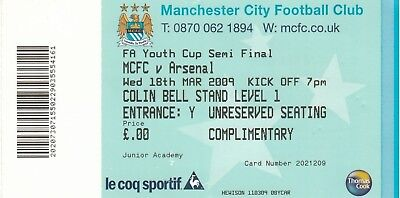Ticket - Manchester City Youth v Arsenal Youth 18.03.09 FA Youth Cup Semi-Final