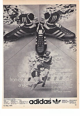 """1976 Classic Adidas Soccer  """"Great From Every Angle""""  Print Advertisement"""