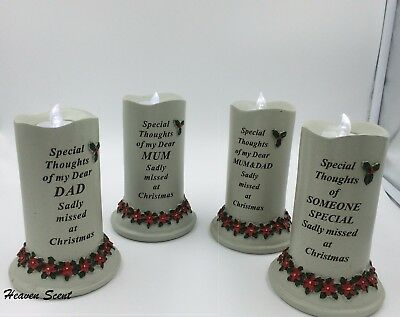 Christmas Memorial LED Candle Grave Ornament For Various Relations