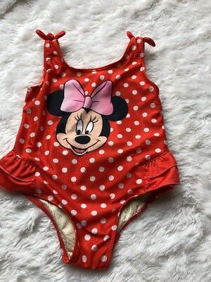 Disney Baby Minnie Mouse Swimsuit 24M Bow Details Ruffles Polka Dot Bathing Suit