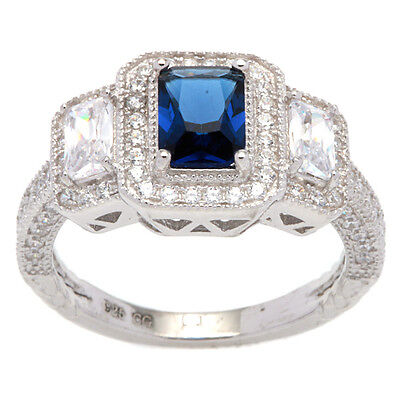 Sterling Silver Vintage-look Halo Ring with Cushion-cut Navy Blue Cubic Zirconia