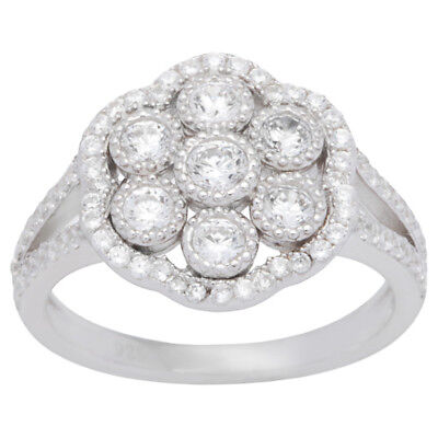 Sterling Silver Cubic Zirconia Vintage-inspired Ring