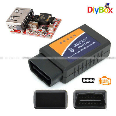 ELM327 V1.5 OBD2 Car Bluetooth Diagnostic Interface Scanner Step Down Converter
