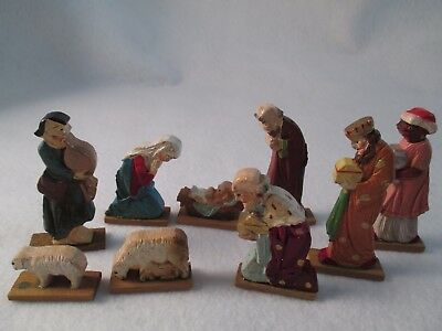 Vintage Anri mini hand carved wood 9 piece Nativity Creche figures
