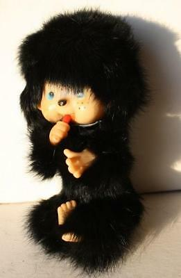 Vintage MONCHICHI with Plastic Face-Arms-Feet Real Black Hair Fur Mink-ADORABLE