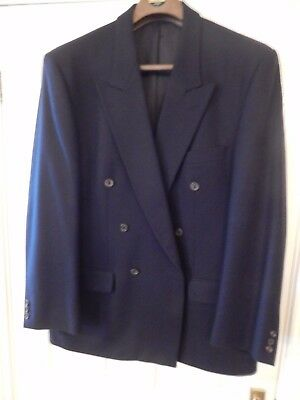 mens navy double breasted blazer 42in medium brushed new wool