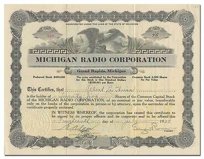 Michigan Radio Corporation Stock Certificate - Rare