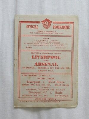 Football Programme Liverpool v Arsenal 1947/48