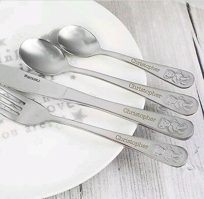 Personalised Childrens 4 Piece Teddy Bear Cutlery Set Boys and Girls Christening