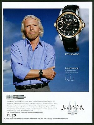 2012 Print Ad Bulova Accutron Calibrator Watch with Richard Branson