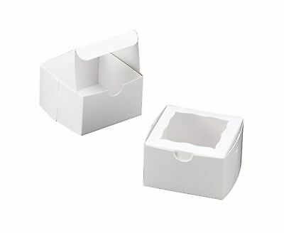 White Bakery Box with Window 4x4x2.5 inch 25 PACK cupcake boxes gift box wedd...
