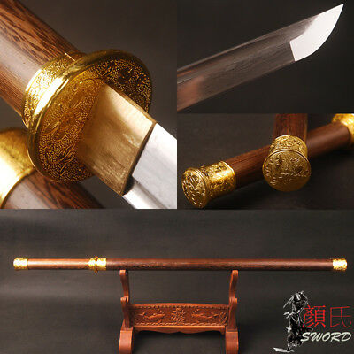 Chinese Sword Folded Steel Sharp Blade Rosewood Handle Scabbard Brass Fittings
