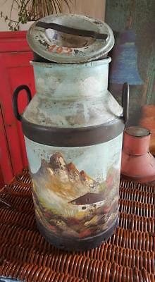 vintage dutch painted milk churn / barge / planter...uk delivery available