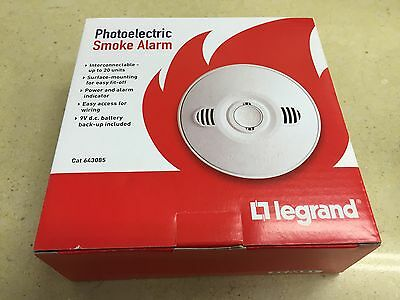 HPM Legrand 240V PHOTOELECTRIC Smoke Alarm BRAND NEW & IMPROVED MOD 643085