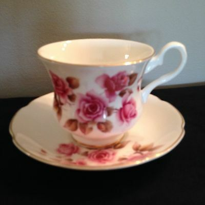 Royal Grafton pink roses brown leaves tea cup and saucer 1970's FREE SHIPPING