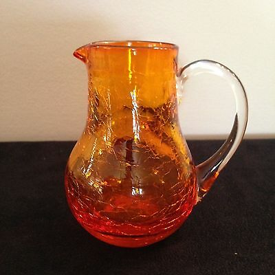 Small Orange cracked blown glass miniature pitcher creamer 1970's FREE SHIPPING
