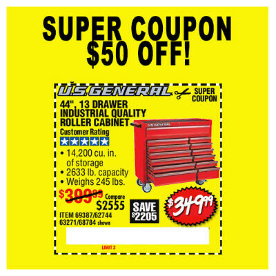 Harbor Freight Tools Super Coupon 50 Off 44 Roller Cabinet Tool