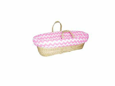 Baby Doll Bedding Chevron Moses Basket Pink