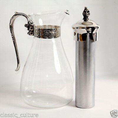 French Glass Jug Ice Cooling Tube Art Deco Vintage c.1940