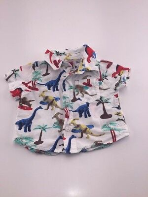 Baby Boy Dinosaur Hawaiian Style Shirt 3-6 Months Quicksilver Surfing Summer