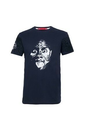 (Small, Z73 Navy) - Front Up Rugby Men's NZ Haka Stare T-Shirt