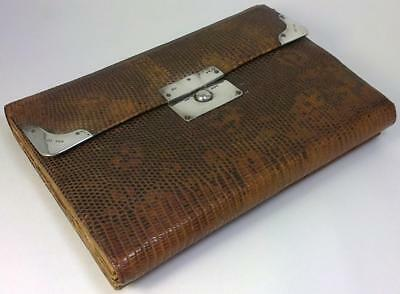 Large Antique Victorian Silver-mounted Snakeskin Sewing Case/Wallet/Bag – 1890