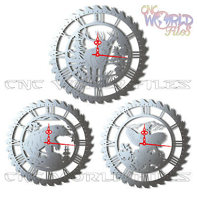 DXF CDR and DWG File For CNC Plasma or Laser Cut - Hunter Clock lot