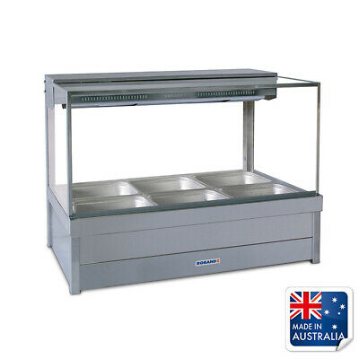 Bain Marie / Hot Food Display Square Double Row 6x 1/2 Pans & Doors Roband S23RD