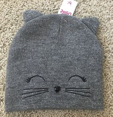 NWT Justice Gray Kittie Beanie w/ Button Detail Nose & Silver Thread Accents!