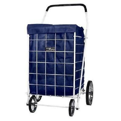 Portable Basket Folding shopping Cart Liner Laundry Grocery Trolley Blue