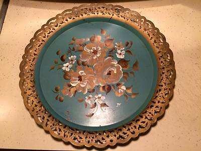 """12"""" Vintage Hand painted metal tray  made in New York Signed"""