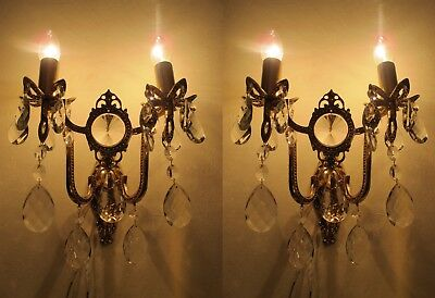 Pair of Antique Vnt. French Gold plated Crystal Wall Sconce Aplique 1940's.7 in